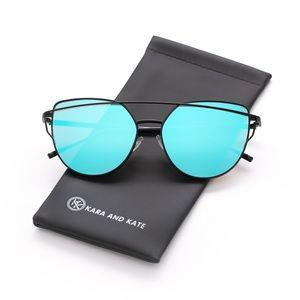 Blue On Black Mirrored Sunglasses, Aviator Sunnies